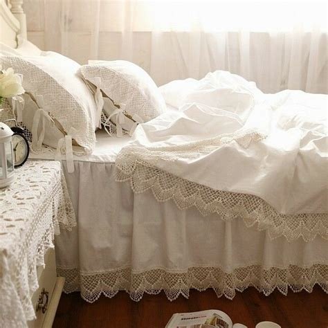 Lace Coverlet Bedding by Shabby And Style White Wide Lace Cotton Duvet