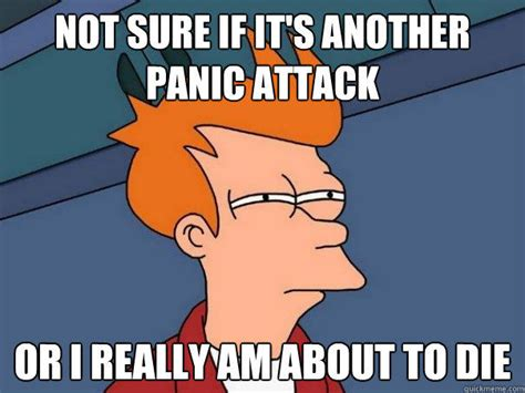 Panic Meme - not sure if it s another panic attack or i really am about to die futurama fry quickmeme