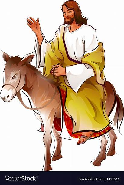 Donkey Jesus Sitting Vector Side Christ Vectorstock