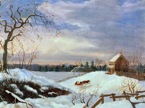 snow scene   england painting  american school