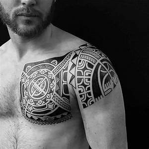 Polynesian Chest Tattoo to Shoulder | Best Tattoo Ideas ...