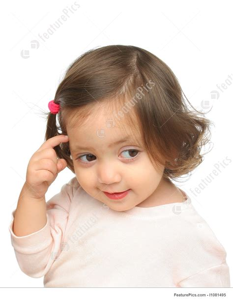 Little Girl Smiling And Thinking Stock Image I1081495 at