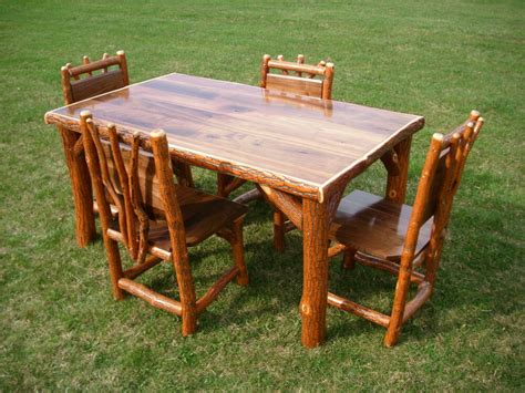 rustic kitchen table sets sassafras walnut rustic log kitchen table 4 chairs amish