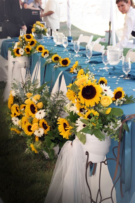 wedding decorations  tables  light blue  yellow