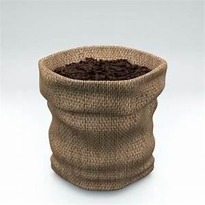 3D model Coffee Burlap Hessian Fabric Bag with Coffee ...