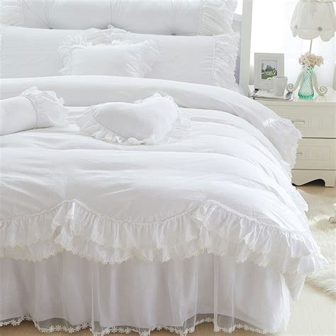 white bedspread with ruffles get cheap white ruffle comforter aliexpress com