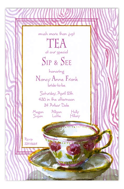tea cup kitchen tea invite polka dot design