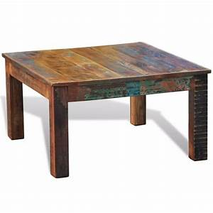 reclaimed wood coffee table square antique style vidaxlcom With what is a coffee table