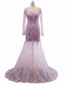 Lavender Sheer Lace Qpplique Overlay Long Sleeve Wedding ...