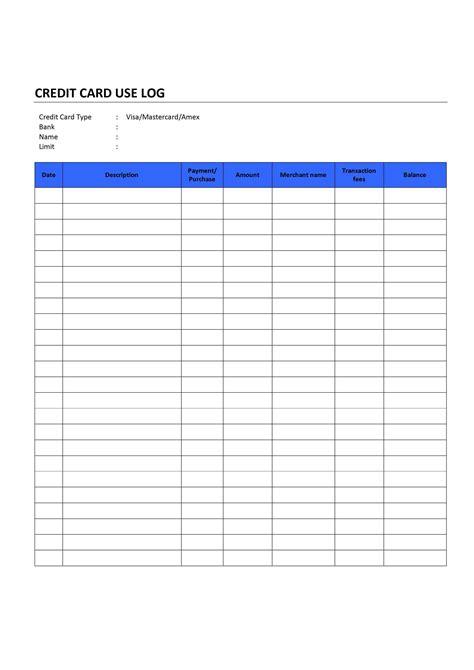 gift card tracking log template credit card use log