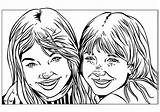 Coloring Pages Sisters Twin Drawings Printable Print Little sketch template