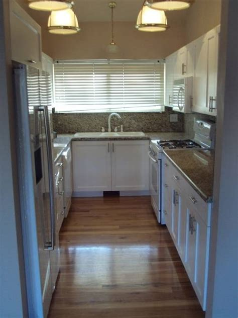 narrow  shaped kitchen designs video