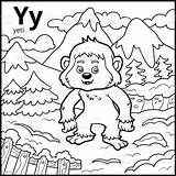 Yeti Coloring Alphabet Letter Colorless Illustration Vector Bigfoot Russia Animal sketch template