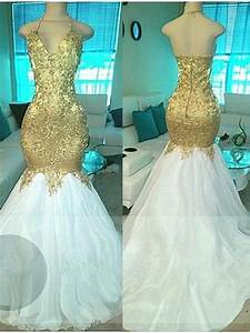 Long White And Gold Prom Dresses 2017 Mermaid For Black ...