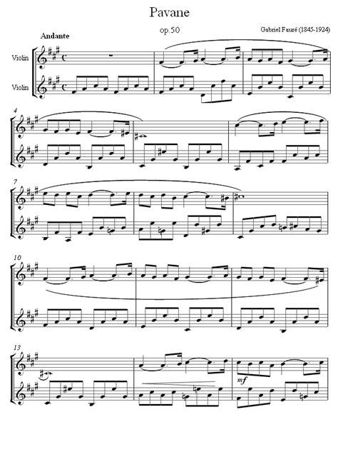 faure pavane sheet   violin duet  images