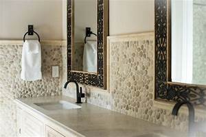 Large Vanity Mirror With Lights Large Java Tan Pebble Tile High End Bathroom Backsplash