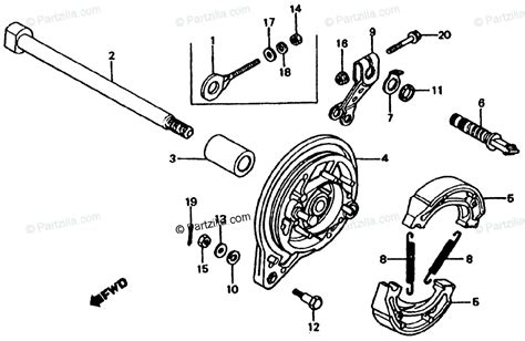 honda motorcycle 1979 oem parts diagram for rear brake panel partzilla
