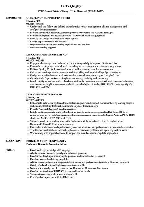 linux support engineer resume sles velvet