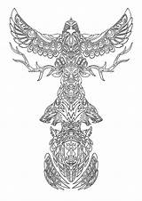 Totem Pole Coloring Printable Tattoo Animal Adults Eagle Animals sketch template