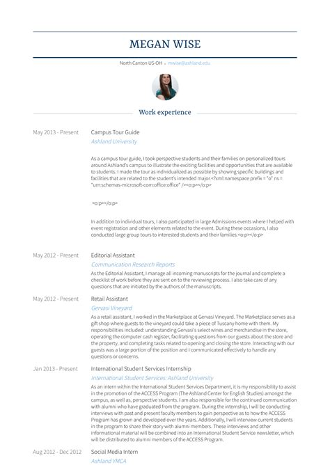 Resume Guide by Tour Guide Resume Sles Templates Visualcv