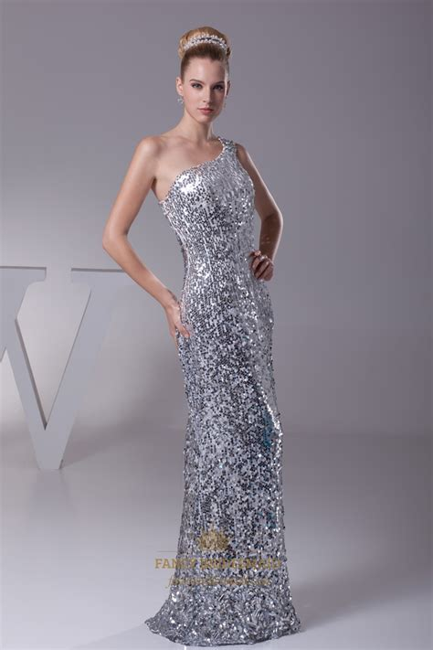 silver sequin  shoulder sheath floor length prom
