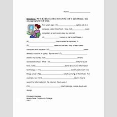 Cloze Exercise Verb Tenses Worksheet For 5th  7th Grade  Lesson Planet