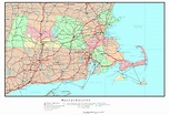 Large detailed administrative map of Massachusetts state ...