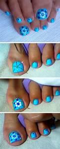 Toe nail designs for summer beach easy toenail art