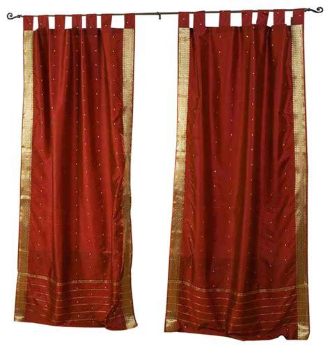indian selections rust tab top sheer sari curtain drape
