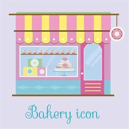 Bakery Patisserie Candy Facade Icon Vector Illustration