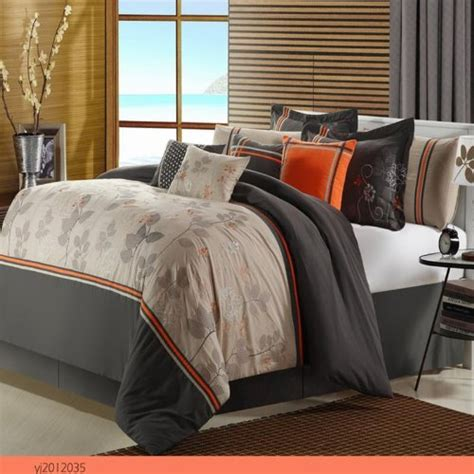 orange and gray comforter set orange and grey bedding sets sweetest slumber