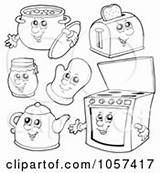 Kitchen Outlined Clip Illustration Collage Digital Characters Royalty Vector Items Clipart Visekart Kettle Tea Slice Toaster Bread Holding Happy Poster sketch template