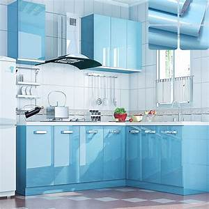 Modern kitchen cupboard diy pearl sky blue wallpaper roll for Kitchen colors with white cabinets with tiger stickers app