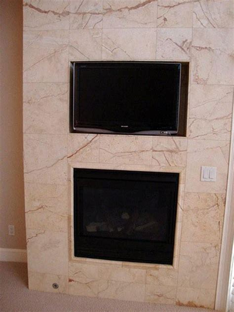 recessed flat panel tv  master bedroom fireplace
