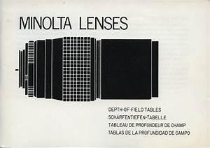 Minolta Lenses Depth Of Field Tables User U0026 39 S Guide