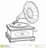 Player Coloring Gramophone Record Retro Grammofono Gramofone Vector Fumetti Nere Oggetto Linee Isolato Coloritura Adulta Vettore Stile Bambini Libro Bianco sketch template