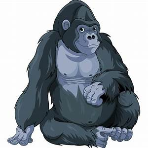 B&w clipart gorilla - Pencil and in color b&w clipart gorilla