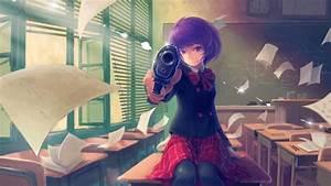 1920x1080, Px, Anime, Girls, Gun, Pistol, School, Uniform, Schoolgirls, Short, Hair, Skirt, St, High, Quality