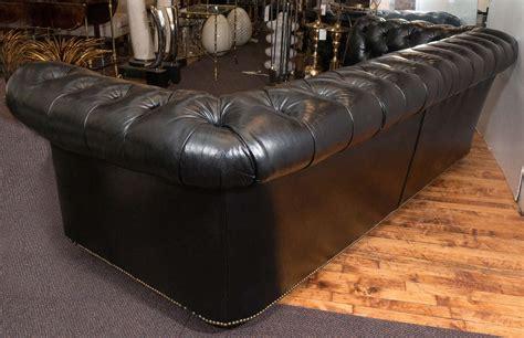 black leather tufted sofa midcentury chesterfield sofa in tufted black leather at 1stdibs