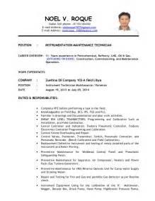 instrumentation technician resume exles instrument technician for maintenance new