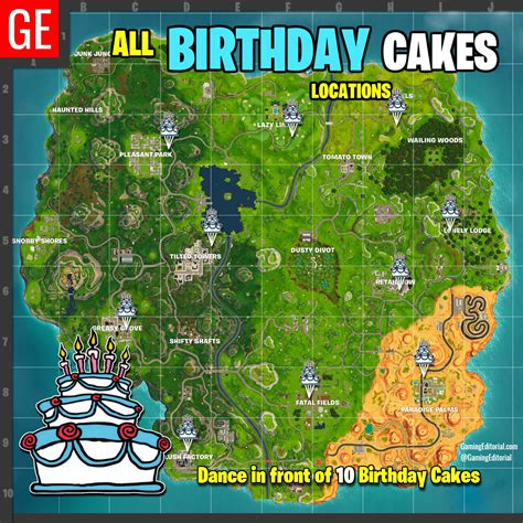fortnite  locations map dance   birthday