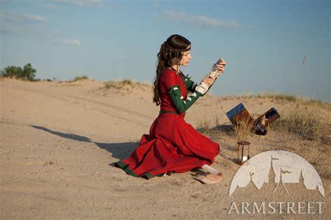 fantasy natural flax linen dress  detachable sleeves