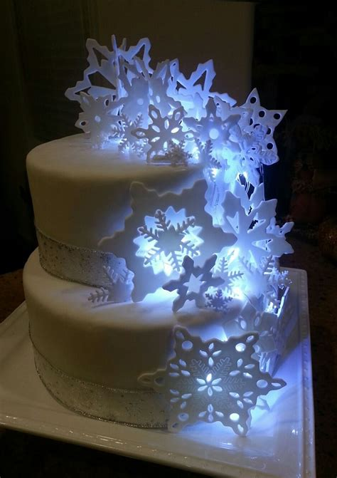 lighted snowflake cake cakes terry    cake