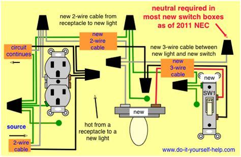 wiring diagram   hot   receptacle   light diy   light switch wiring