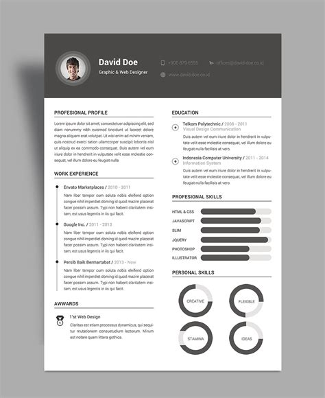elegant resume cv design template psd file good
