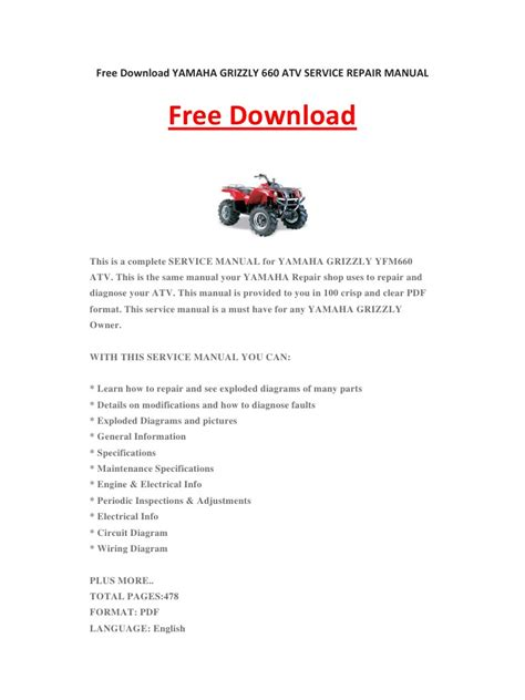 yamaha grizzly 660 atv service repair manual by kevinlee pdf archive