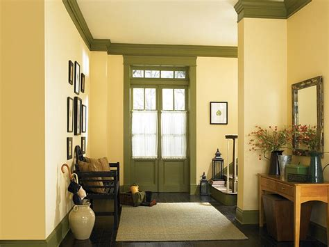country hallway yellow craftsman home   paint