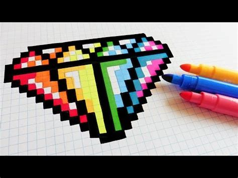 handmade pixel art   draw rainbow diamond pixelart racerlt