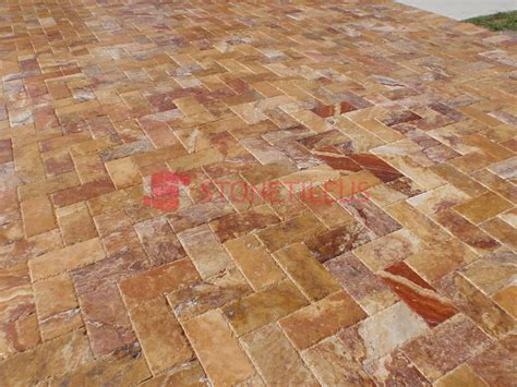 peach blend tumbled travertine pavers  stone tile