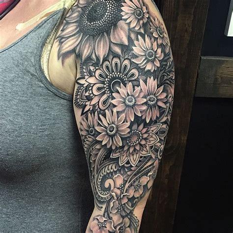 mandala flowery sleeve  tattoo design ideas